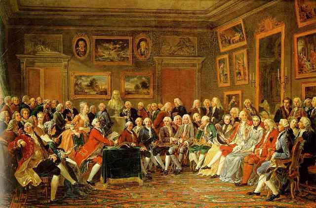 Anicet-Charles-Gabriel Lemonnier (1743–1824): In the Salon of Madame Geoffrin in 1755 (1812), Château du Malmaison, Rueil, © Web Gallery of Art.